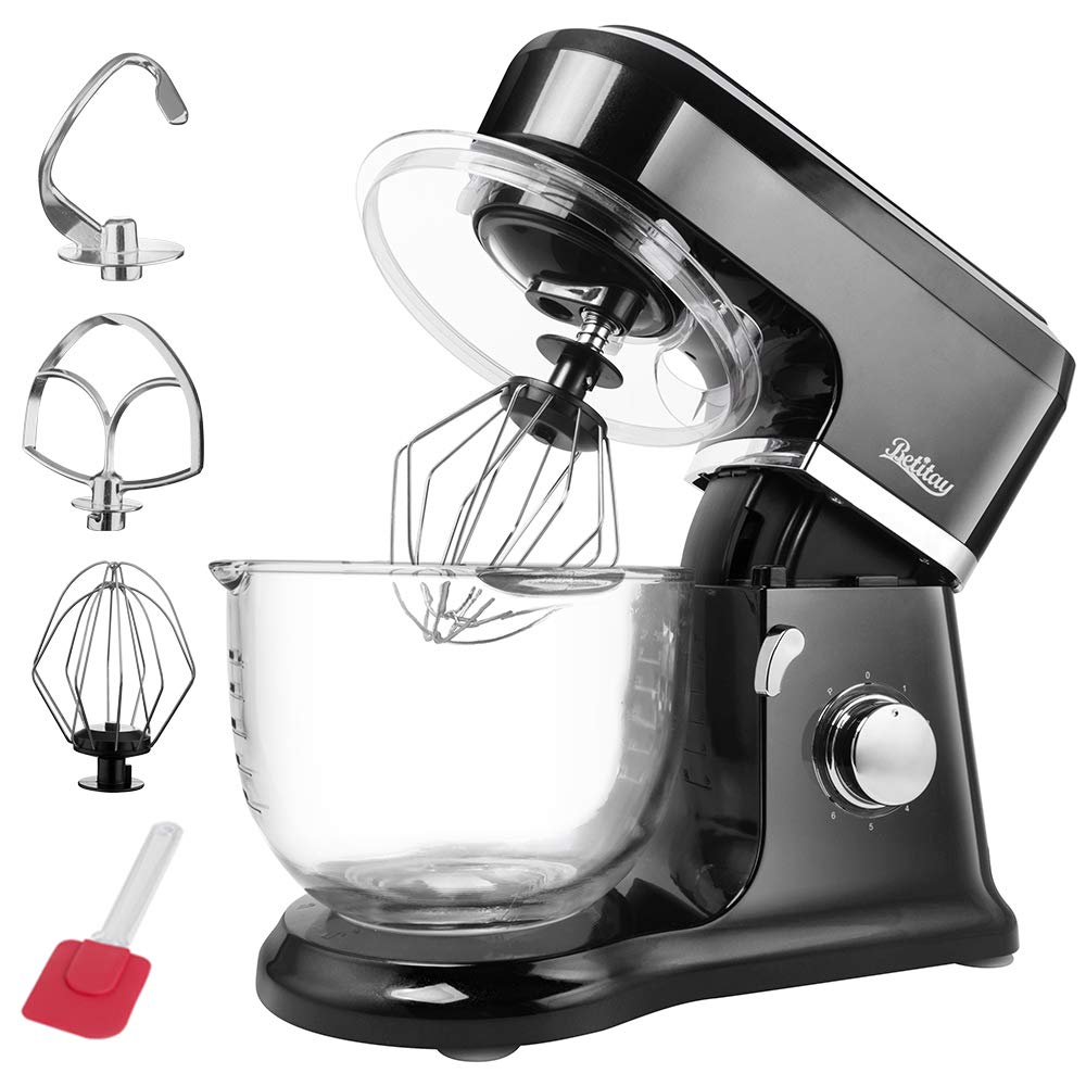 Betitay Automatic Stand Mixer,6-Speed 500 Watts Flour Mixer with Pulse Setting,Visible 4.0 QT Glass Mixing Bowl,Dough Hook,Egg Whisk,Flat Beater(Black)