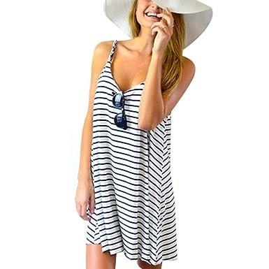 bd9ef72531e6 MEIbax Women Sleeveless Striped Loose Mini Dress Beach Party Casual  Sundress  Amazon.co.uk  Clothing
