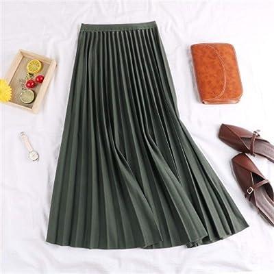 BIXIANGJI Falda Maxi Sólida, Faldas De Péndulo Grandes A-Line Femeninas Falda plisada (Color : Verde, tamaño : One Size): Ropa y accesorios