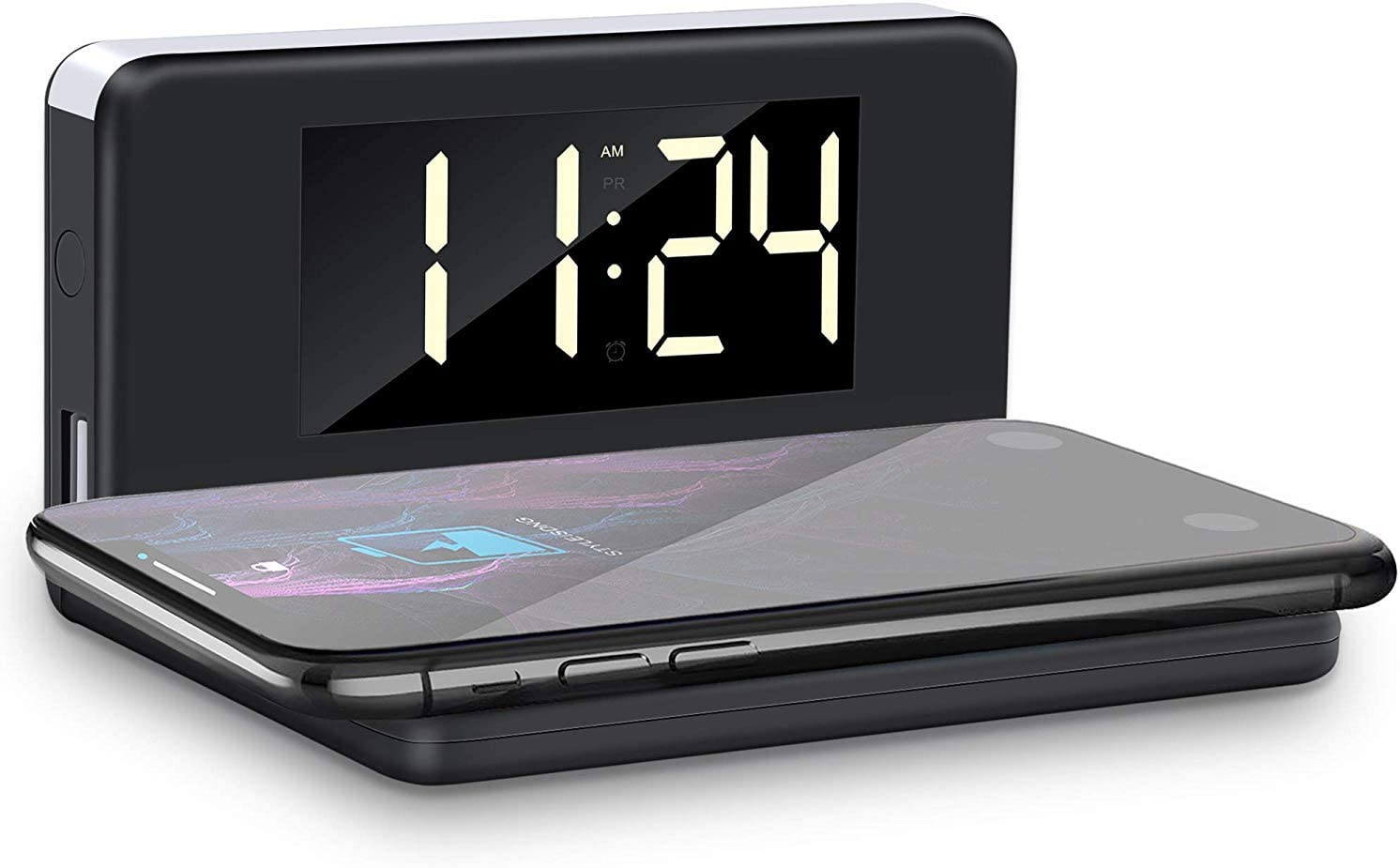 Kadeva Cargador inalambrico movil Despertador Reloj Digital luz Nocturna Carga rapida 10W Negro