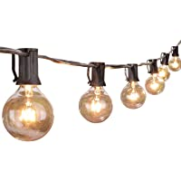 G40 Globe String Lights with 25 Clear Glass Bulbs-UL Listed Vintage Indoor/Outdoor lights for Backyard Patio Umbrella Market Deck Bistro Cafe Porch Letter Wedding Party Decor (Black)