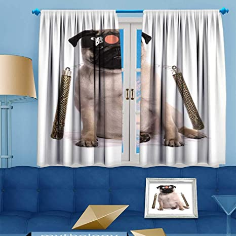 Amazon.com: PRUNUS Blackout Curtain Ninja Karate Pug Studio ...