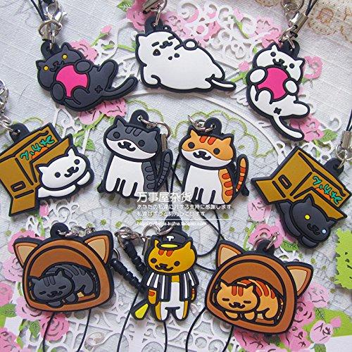 japanese game neko atsume ねこあつめ cute cat keychain key ring