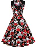 FAIRY COUPLE 50s Women Vintage Floral Button Swing Casual Dress DRT025(2XL, Red Skull)
