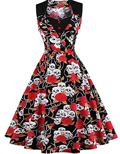 FAIRY COUPLE 50s Women Vintage Floral Button Swing Casual Dress DRT025(3XL, Red Skull) by FAIRY COUPLE