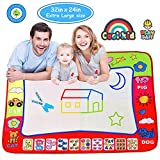 Slook Magic Water Drawing Mat Large Doodle Mat 32x24in Water Drawing Aquadoodle Mat Painting Board Writing Mats With 2 Pens 6 Big Molds Educational Toy Gift for Boys Girls Age 2 3 4 5 Year Toddler
