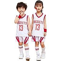 James Harden Houston Rockets #13 Kid Retro Jerseys Sets, Youth Boys Girls Basketball Top+Shorts Suit, Kids Basketball…