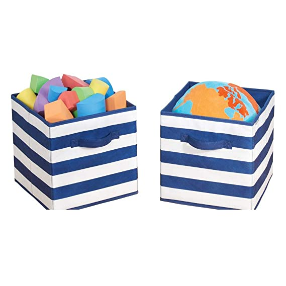 mDesign Juego de 2 cajas organizadoras para guardar juguetes - Cestas de tela a rayas para habitación infantil o dormitorio - Caja de tela con asas, ...