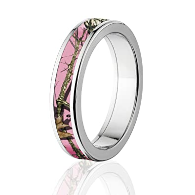 pink mossy oak camo ring titanium camo bands 5mm comfort fit - Mossy Oak Wedding Rings