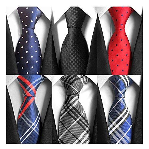 AVANTMEN Classic Men's Neckties 6 PCS Woven Jacquard Neck Ties (Man Tie)