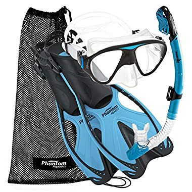 Phantom Aquatics Adult Mask Fin Snorkel Set with Mesh Bag, Aqua, Small/Medium/Size 4.5 to 8.5