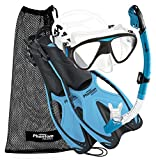 Phantom Aquatics Adult Mask Fin Snorkel Set with Mesh Bag, Aqua, Small/Medium
