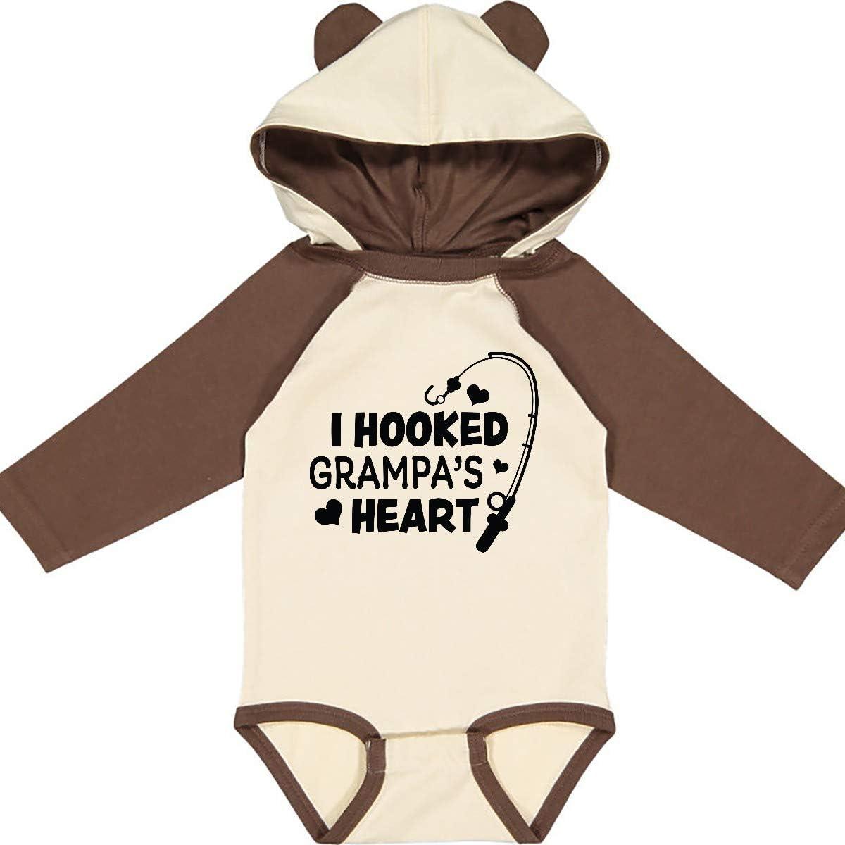 inktastic I Hooked Grampas Heart with Fishing Rod Long Sleeve Creeper