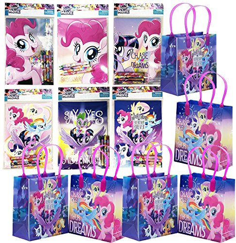 12pc My Little Pony Birthday Party Supply Favor Gift Bags w/Coloring Book]()