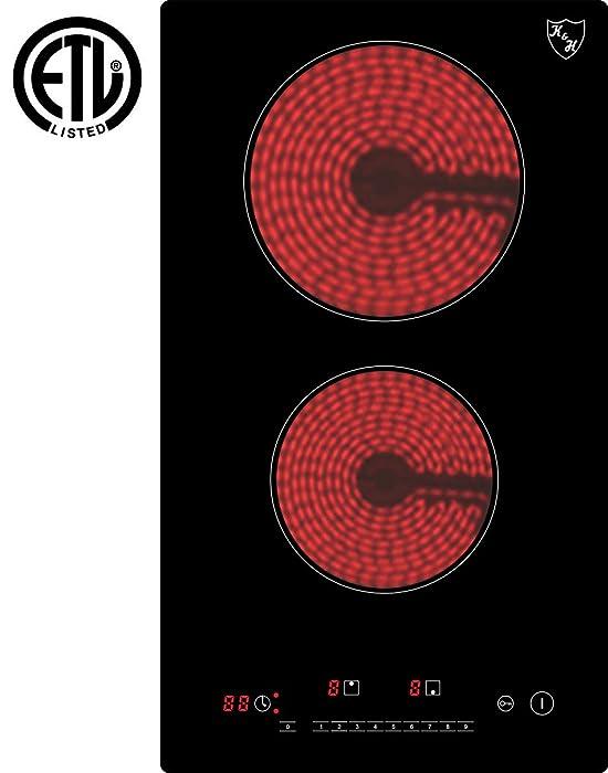 K&H Domino 2 Burner Electric Radiant Ceramic Cooktop 220V CERV-3002