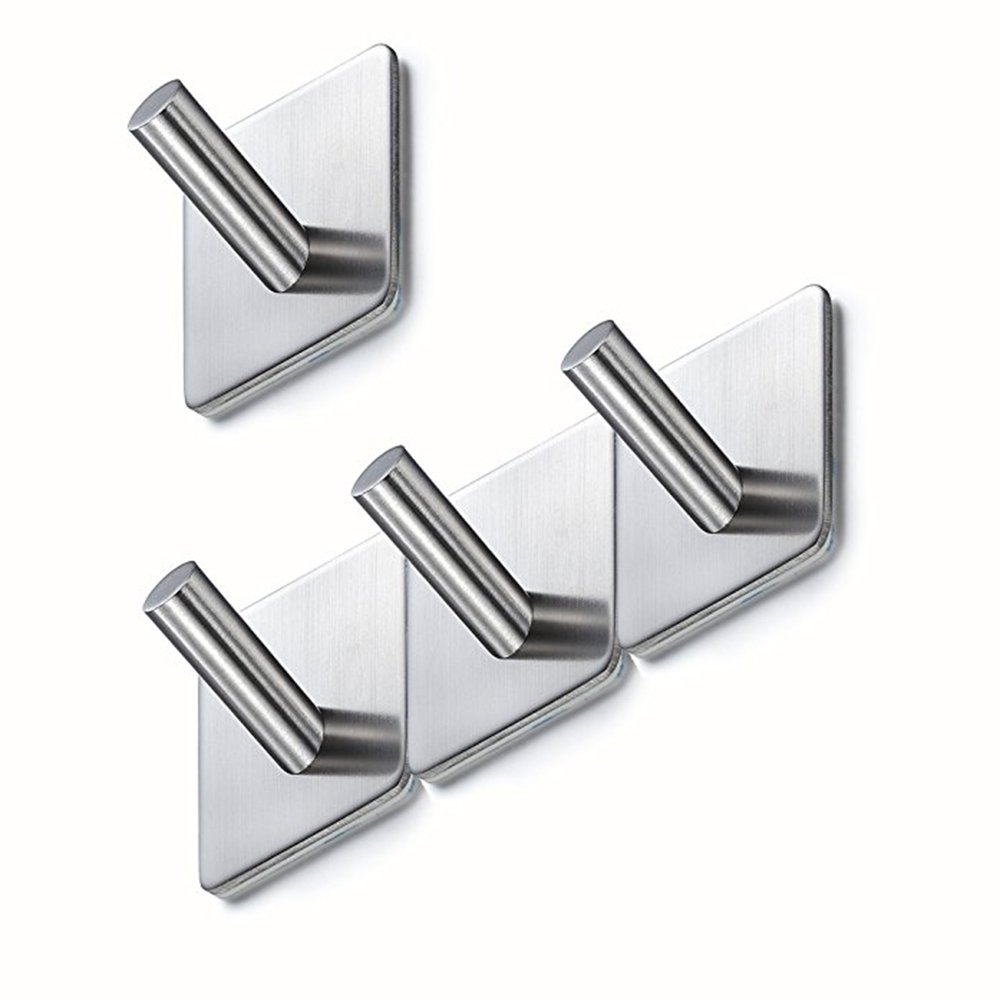 Self Adhesive Hooks,3M Sticky Hooks,Helot Stainless Coat Hooks Heavy Duty Door Hooks,6 Pieces Towel Hooks for Bathrooms,Kitchen,Lavatory Closet and Rust Proof(6 Pieces)