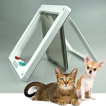 Puerta basculante para gatera, entrada y salida de gatos y perros, controlable, fabricadas en material plástico ABS, superresistente, 3 modos para 4 ...