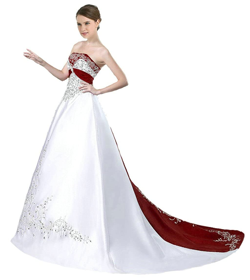 White & Burgundy Vantexi Women's Satin Embroidery Wedding Dress Bridal Gown