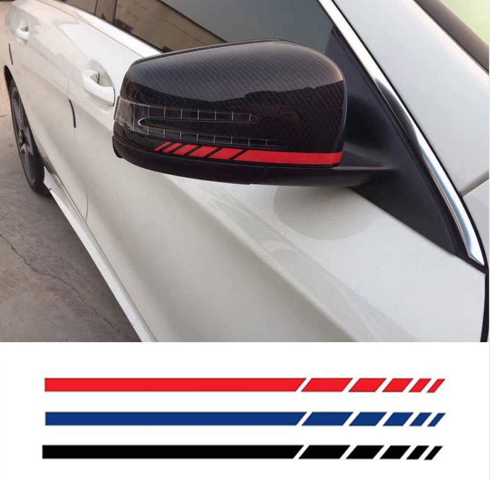 Labu Store Car Sticker 2sets4pcs Rearview Mirror Side Decal Stripe Vinyl Truck Vehicle Body Accessories Black/Sliver 200.7cm