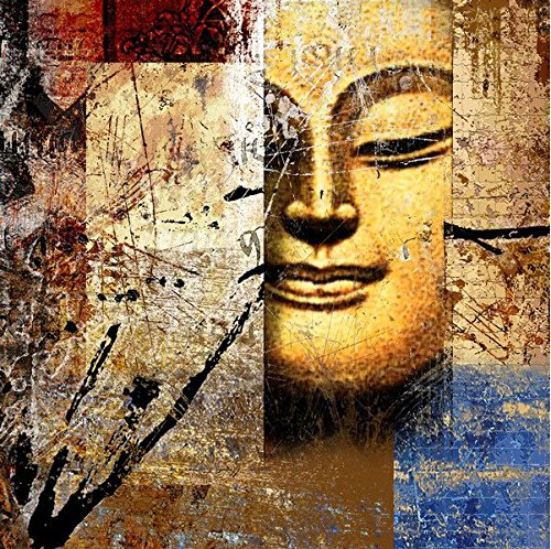 1EasyLife 001 Half Face Buddha Abstract Portrait 100 Handmade Canvas Oil Painting Wall Decor Glows Up In The Dark 30cm L X 60 Cm W