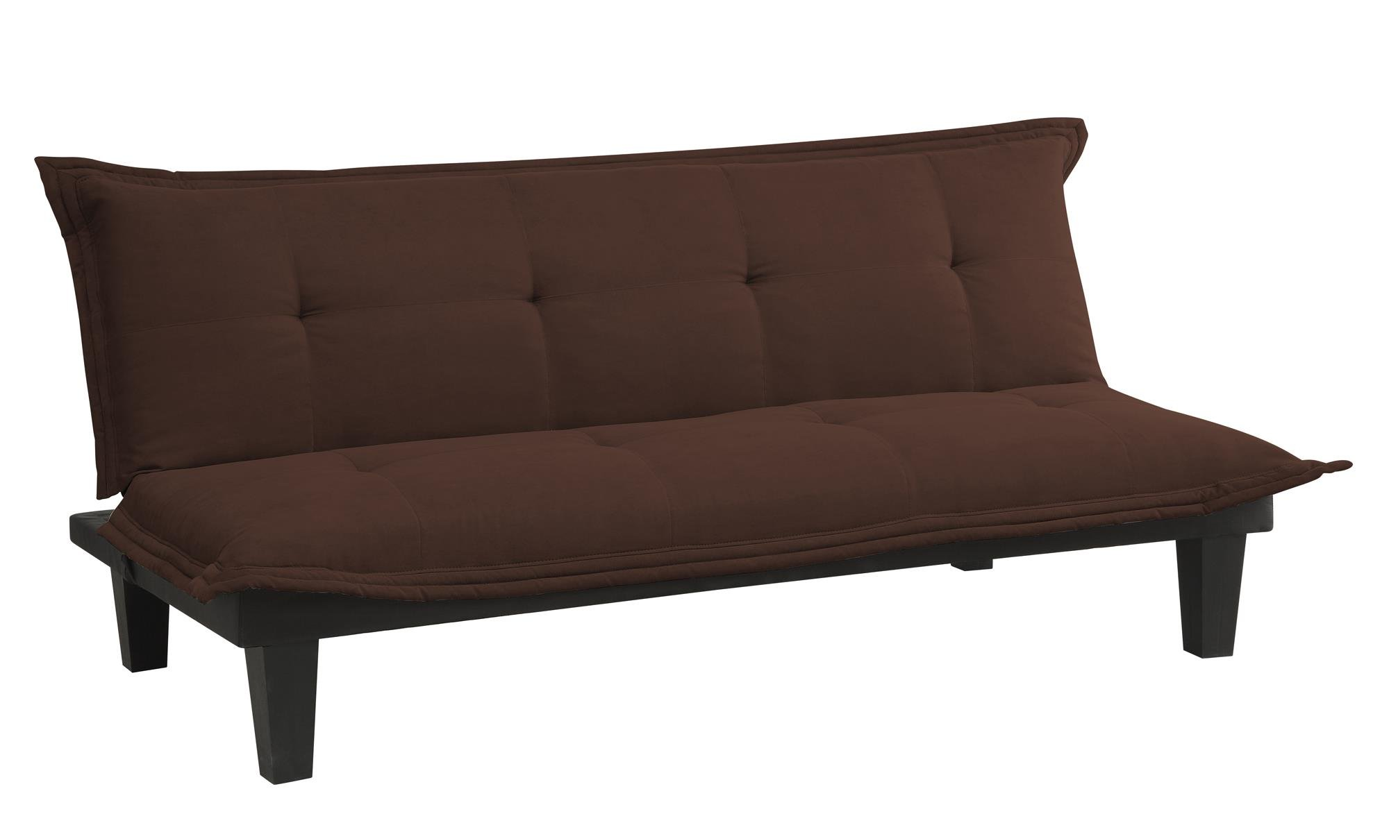 DHP Lodge Convertible Futon Couch Bed with Microfiber Upholstery and Wood Legs, Brown by DHP
