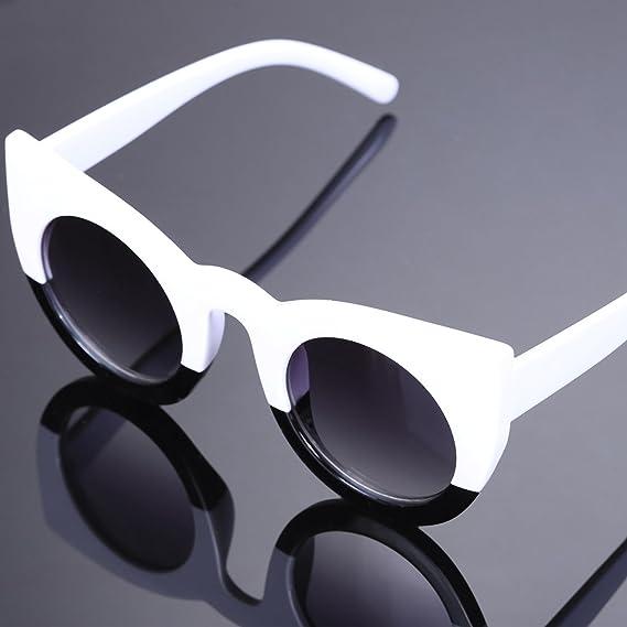 TOOGOO Occhiali da sole rotondi Cat Eye Occhiali da sole da donna di alta qualita' S17005, bianco + nero
