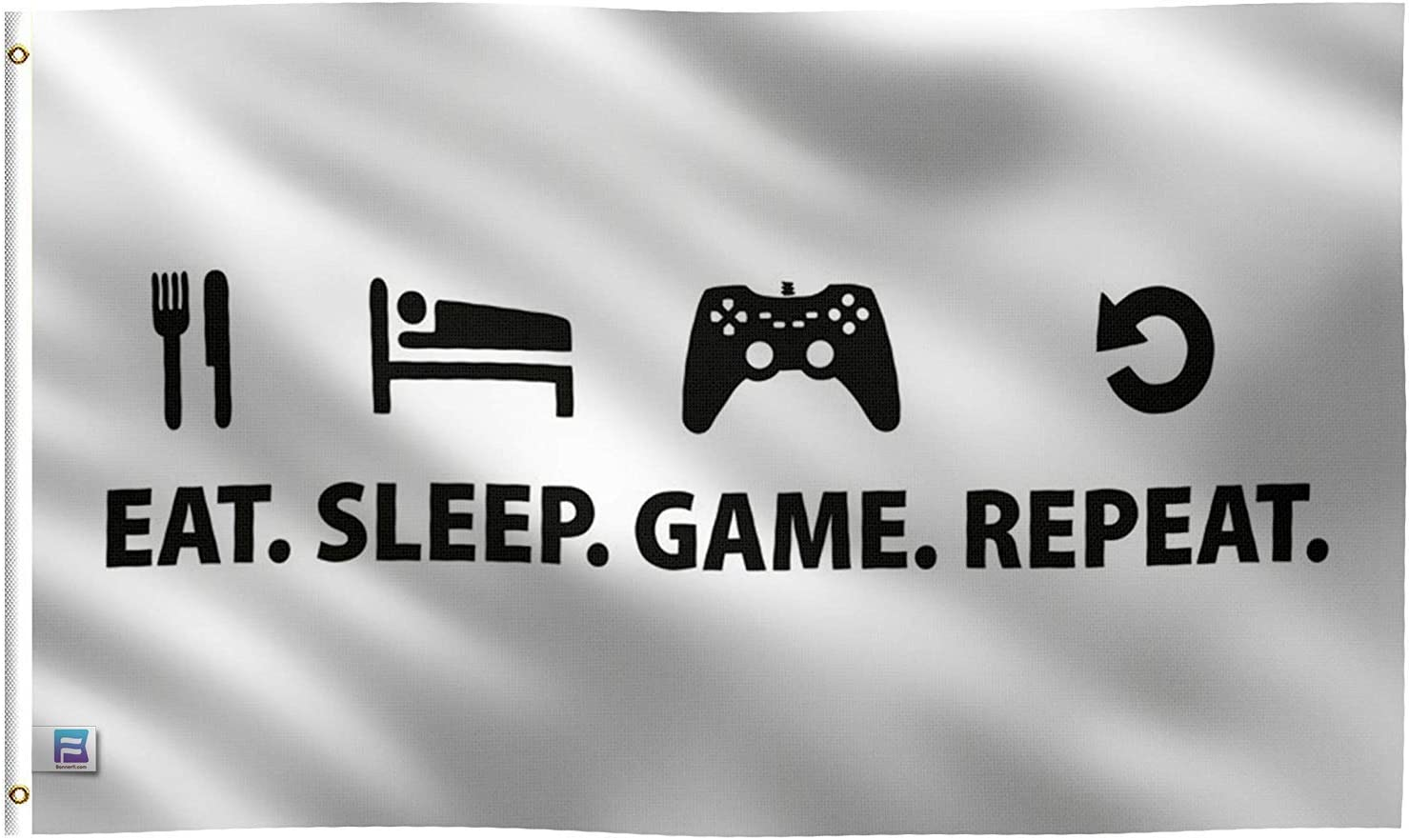 3x5 Foot Eat. Sleep. Game. Repeat. Flag: Single Sided 100% Polyester Banner, Canvas Header with 2 Grommets, UV Resistant Vibrant Digital Print, for Use Outdoor or Indoor