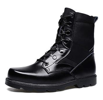 DANDANJIE Botas de Combate para Hombre Botas de otoño Invierno Botas de Estilo británico Zapatos Negros para Caminar Botines: Amazon.es: Deportes y aire ...
