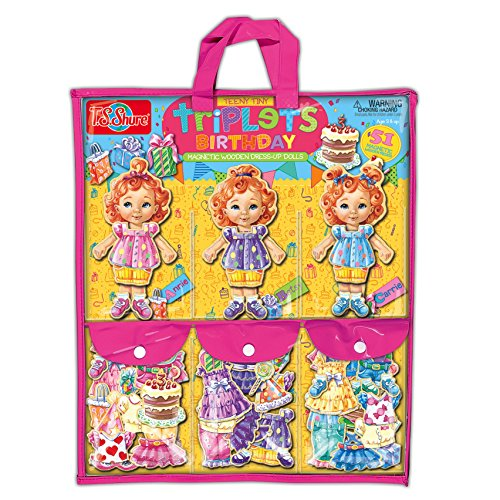 TS Shure Teeny Tiny Triplets Birthday Wooden Magnetic Dress Up Dolls