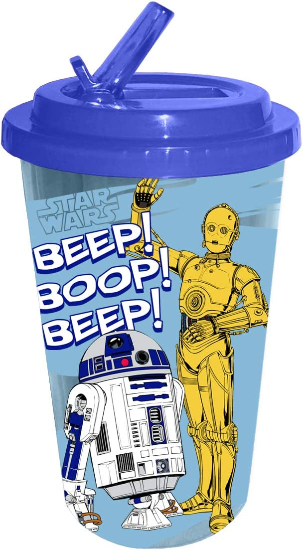 Silver Buffalo Boop Beep, 16-Ounce Star Wars Classic Droids Plastic Flip Straw Cold Cup, Blue