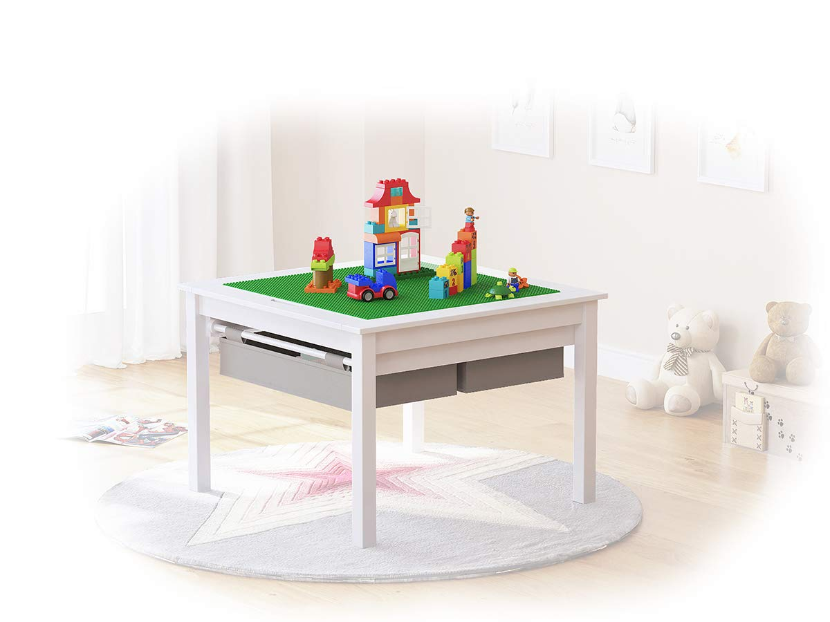UTEX 2 in 1 Kids Construction Play Table with Storage Drawers and Built in Plate (Espresso) SS17-UTX008