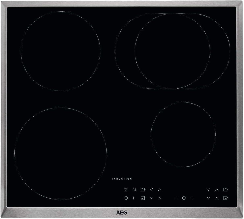AEG - Placa de cocina (eléctrica, empotrada), 6 elementos de calor, 57,6 cm, función Hob²Hood, indicadores electrónicos para todas las zonas de cocción, color negro 60 cm, mit Bräterzone Negro: Amazon.es: Grandes electrodomésticos