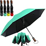 HAILSTORM Folding Reverse Umbrella with UV and UPF50+ Protection - Inverted Windproof Umbrellas with Lightweight Fiberglass Frame - Teal