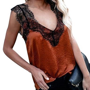 51fb3f0b4fa4bd Battnot❤ Damen Crop Tops Bluse V-Ausschnitt Solide Spitze Patchwork Elegant  Ärmelloses Freizeit Slim