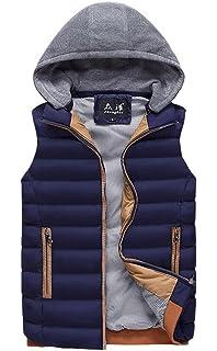 JOOBOX - Chaleco de Pluma para Hombre con Capucha Desmontable Chaqueta Abrigo sin Mangas con Bolsillos de Cremallera… QDqQ5