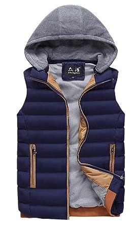 Panegy Doudoune Ultra Légère Veste Manteau sans Manches Fermeture Zippée Capuche Amovible en Hiver Homme 5 Couleurs S XL