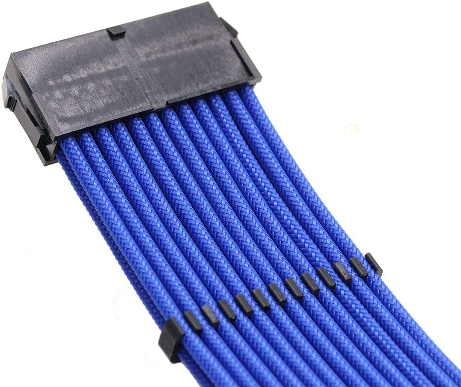 12in, Blue IBEST IMPETUS PSU Sleeved Cables Computer ATX sleeved Extension Cables 24 Pin//8 Pin CPU//6+2 Pin PCIE Power Supply Cable Set 18AWG 300MM