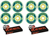 Revision Wheels Inline Roller Hockey Recoil 76mm 76A 8-Pack with Bones Bearings