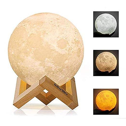Lámpara de Luna 3D, Luz Nocturna Luna LED Lampara Luna Grande 20 ...