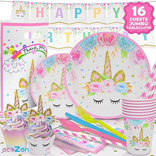 ecoZen Lifestyle Ultimate Unicorn Party Supplies and Plates for Birthday Party   Best Value Unicorn Decorations Set That Give to Make a Long Lasting Magical Memorable Party