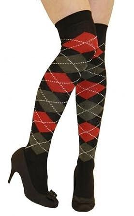 13cfd9e00 Argyle Over The Knee Socks Ladies Thigh High Diamond Check Pattern Golf  Socks 4-6