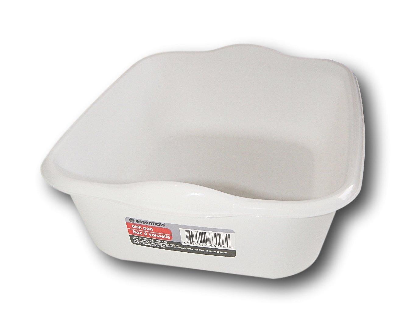 "Essentials White Plastic Eight Quart Dishpan - 13½'' x 11'' x 4½""H"