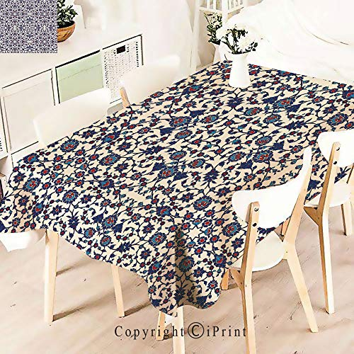 Premium Polyester Printed Tablecloth,Pattern with Victorian Rococo Baroque Oriental, Idle for Grand Events and Regular Home Use, Machine Washable,W55 xL55,Cream Indigo Red Blue