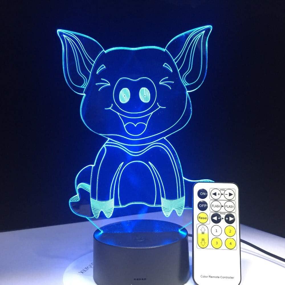La última lámpara de ilusión de Cerdo Linda Efecto Visual luz de Noche Color bilis Control Remoto Cable táctil Creativo