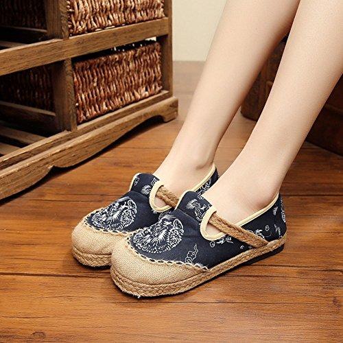 plano dragón MISSMAO mujeres bordados estilo chino damas ballet las para Jane Vintage Mary algodón de zapatos vwxfZFqv