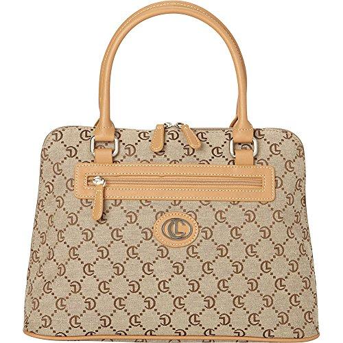 aurielle-carryland-classic-signature-jacquard-satchel-khaki-brown