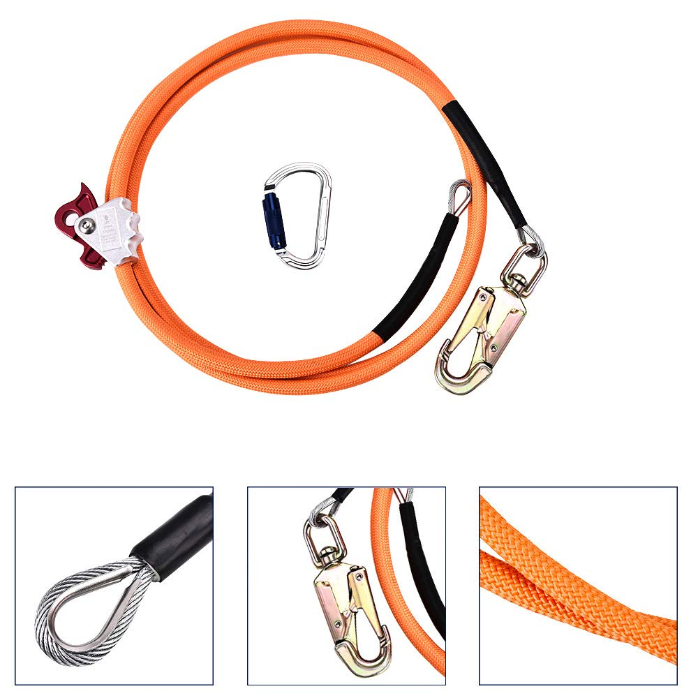ETE ETMATE Steel Wire Core Flip Line Kit - Flipline with Triple Lock Carabiner Adjuster, Adjustable Lanyard, Low Stretch, Cut Resistant - for Fall Protection, Arborist, Tree Climbers (5/8'' x 12')