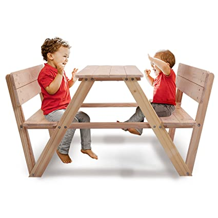 Sensational Jaxpety Kids Table Bench Set Children Wooden Picnic Bench Play Seat W Backrest Download Free Architecture Designs Scobabritishbridgeorg