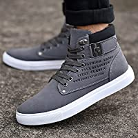 Hot Male Fashion Spring Autumn Men Casual High Top Shoes Canvas Sneakers Leather Shoes Size 10 Color Grey