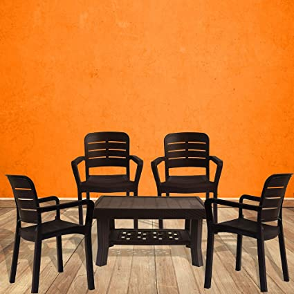 ITALICA Plastic Standard Armchair and Table Furniture Combo (Brown) -Set of 4 Chairs